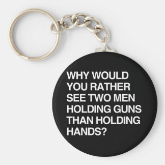 WHY WOULD YOU RATHER SEE TWO MEN HOLDING GUNS KEYCHAIN