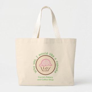 Why Yes, I would like a cupcake Large Tote Bag