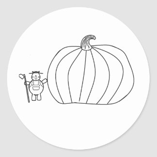 whynocerus the rhinoceros with giant pumpkin classic round sticker