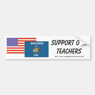 WI--Apoye a nuestros profesores Pegatina De Parachoque