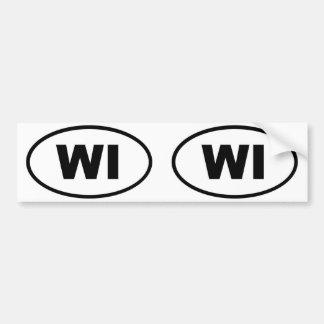 WI de Wisconsin ovales Pegatina De Parachoque