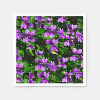 WI State Flower Wood Violet Mosaic Pattern Paper Napkin