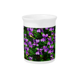 WI State Flower Wood Violet Mosaic Pattern Drink Pitchers