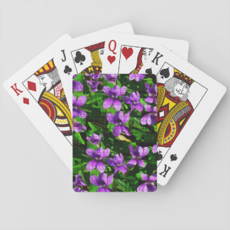 WI State Flower Wood Violet Mosaic Pattern Playing Cards