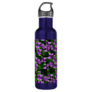 WI State Flower Wood Violet Mosaic Pattern Water Bottle