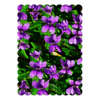 WI State Flower Wood Violet Mosaic Wedding Invite