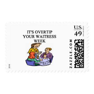 wiatress tipping joke postage stamps