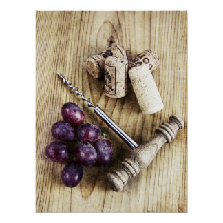 Wibe bottle corkscrew, grapes and corks poster