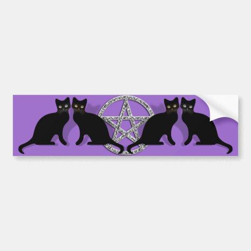 Wicca Magic Pentagram with Black Cat Familiar set Bumper Sticker