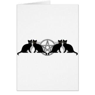 Wicca Magic Pentagram with Black Cat Familiar set Cards