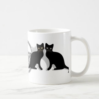 Wicca Magic Pentagram with Black Cat Familiar set Coffee Mug