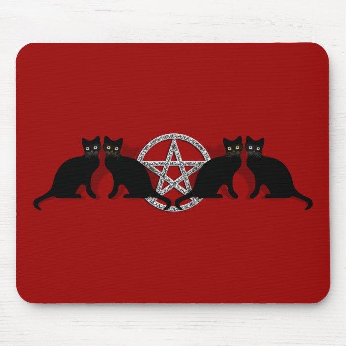 Wicca Magic Pentagram with Black Cat Familiar set Mouse Pad