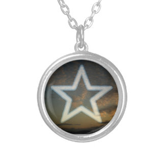 Wicca, Pagan Pentacle Star Round Pendant Necklace