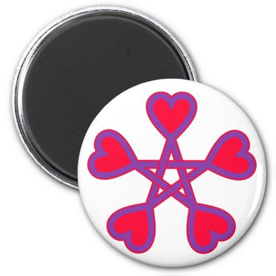 Wicca pentagram heart pentacle hearts magnet