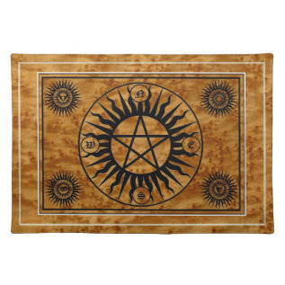 Wicca Witch Witchcraft Pentangle Sacred Altar Mat at Zazzle