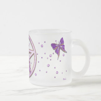 Wiccan Amethyst Jeweled Butterfly Art Frosted Glass Coffee Mug