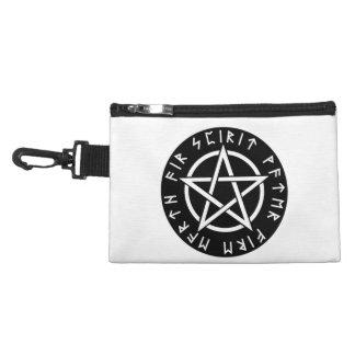 Wiccan Black Runic Pentagram Accessory Bag