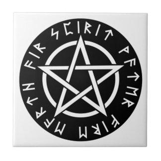 Wiccan Black Runic Pentagram Ceramic Tile