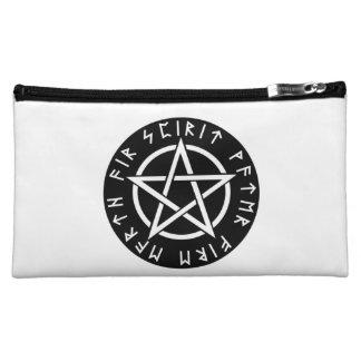 Wiccan Black Runic Pentagram Cosmetic Bag