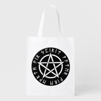 Wiccan Black Runic Pentagram Grocery Bag