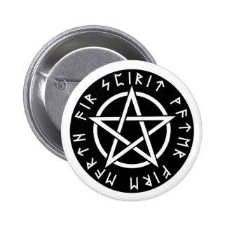 Wiccan Black Runic Pentagram Pinback Button