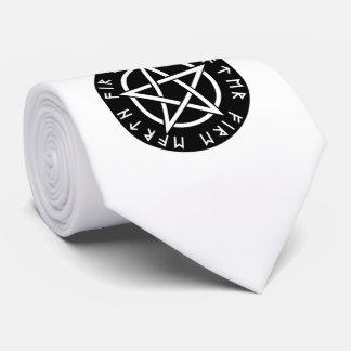 Wiccan Black Runic Pentagram Tie