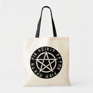 Wiccan Black Runic Pentagram Tote Bag