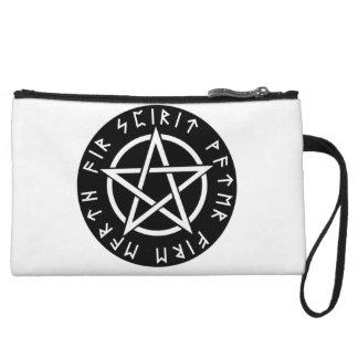 Wiccan Black Runic Pentagram Wristlet Wallet