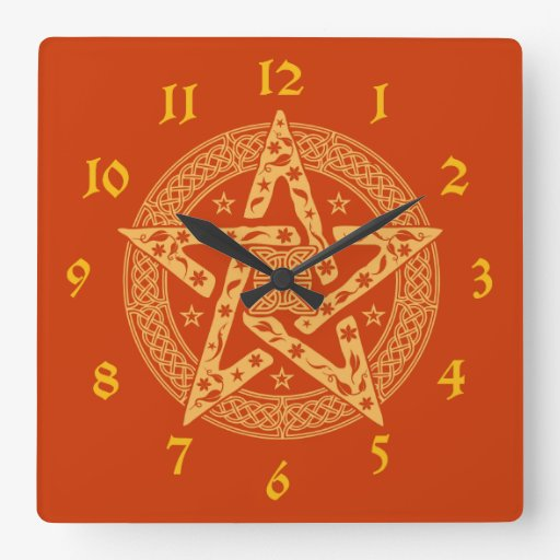 Wiccan Celtic Floral Pentagram Square Wall Clock