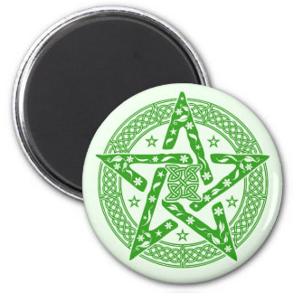 Wiccan Celtic Floral Pentgram with Stars 2 Inch Round Magnet
