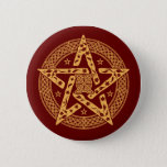 Wiccan Celtic Floral Pentgram with Stars Button