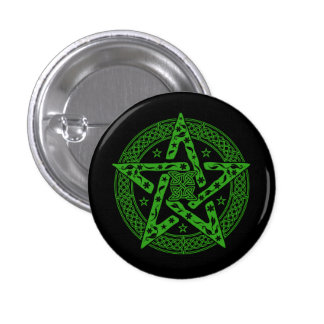 Wiccan Celtic Floral Pentgram with Stars Pinback Button