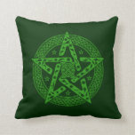 Wiccan Celtic Knot Pattern Floral Pentagram Throw Pillow