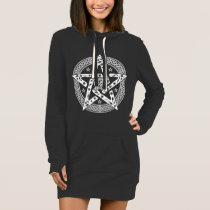 Wiccan Celtic Knot Pentagram with Floral Pattern Dress