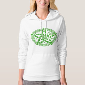 Wiccan Celtic Knot Pentagram with Floral Pattern Hooded Pullover