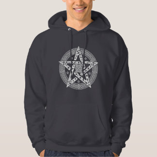 Wiccan Celtic Knot Pentagram with Floral Pattern Hooded Sweatshirts