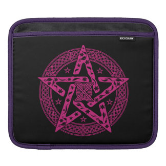 Wiccan Celtic Knot Pentagram with Floral Pattern iPad Sleeve