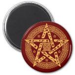 Wiccan Celtic Knot Pentagram with Floral Pattern Fridge Magnet