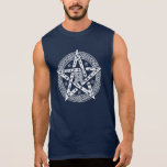 Wiccan Celtic Knot Pentagram with Floral Pattern Sleeveless Shirt
