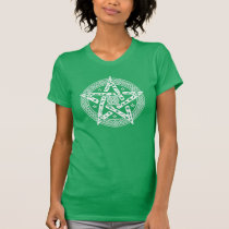 Wiccan Celtic Knot Pentagram with Floral Pattern T-Shirt