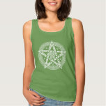 Wiccan Celtic Knot Pentagram with Floral Pattern Tank Top