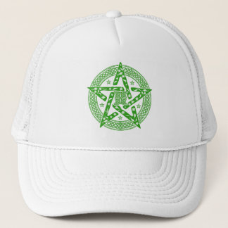 Wiccan Celtic Knot Pentagram with Floral Pattern Trucker Hat