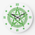 Wiccan Celtic Pentagram Round Wall Clock