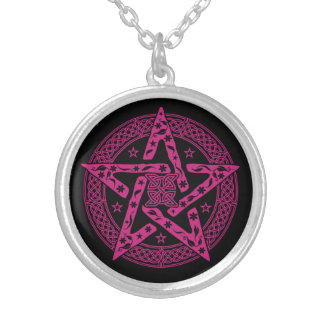 Wiccan Celtic Pentagram with Floral Pattern Silver Plated Necklace