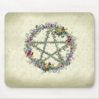 Wiccan flower wreath mouse pad
