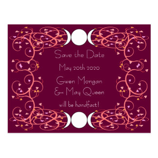Wiccan Moon Lesbian Wedding Save the Date Postcard