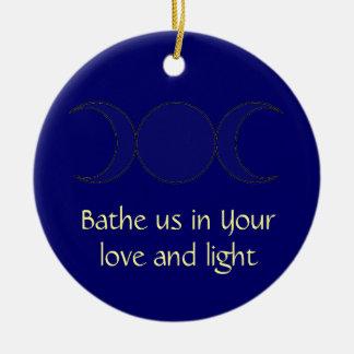 Wiccan Moon Prayer on Midnight Blue Ceramic Ornament