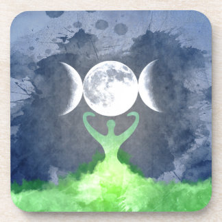 Wiccan Mother Earth Goddess Moon Beverage Coaster