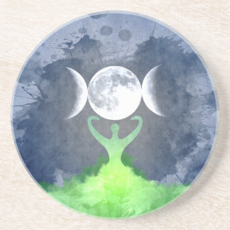 Wiccan Mother Earth Goddess Moon Coaster