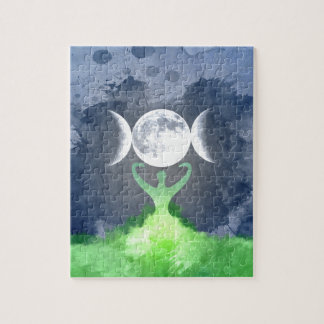 Wiccan Mother Earth Goddess Moon Jigsaw Puzzle